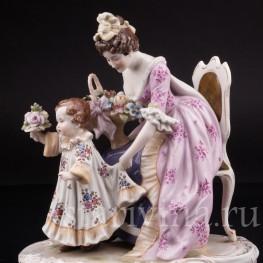 Фарфоровая статуэтка Мама с дочкой, Scheibe-Alsbach, Германия, 1925-72 гг.