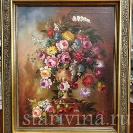 Картина маслом Натюрморт букет с розами, Германия,, сер. 20 в.