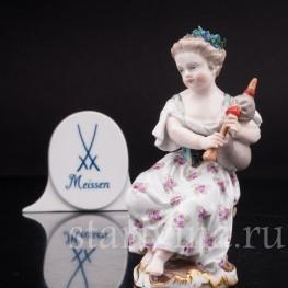 Фарфоровая статуэтка Девочка с волынкой, Девичий оркестр, Meissen, Германия, 19 в.